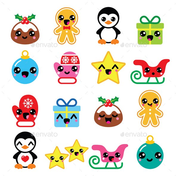 Christmas Kawaii Icons Set