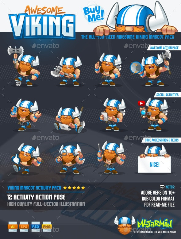Viking Mascot Pack - People Characters
