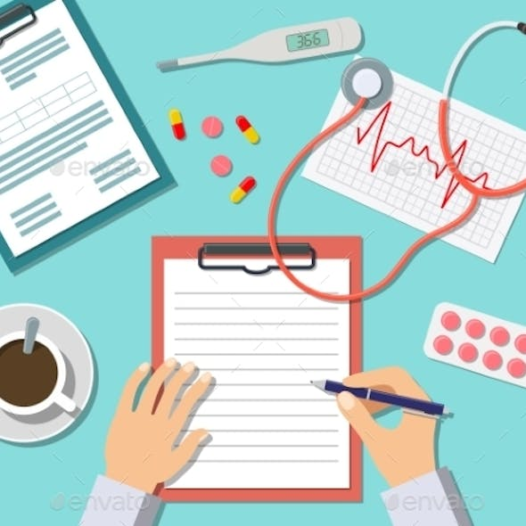 Doctor Working At The Table In Clinic