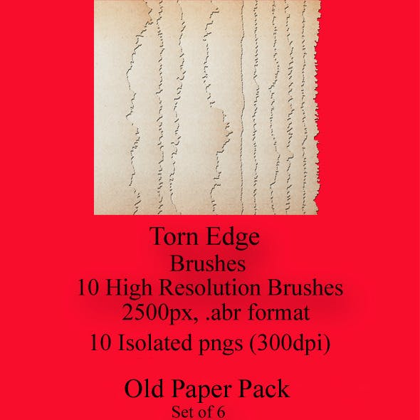 Torn Edge Brushes and Antiqued Paper Pack