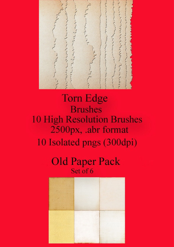 Torn Edge Brushes and Antiqued Paper Pack - Photoshop Add-ons
