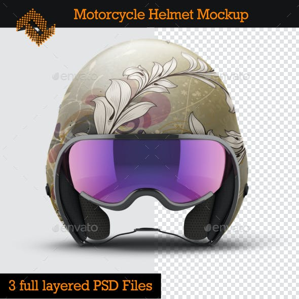 Open Face Motorcycle Helmet Mockup