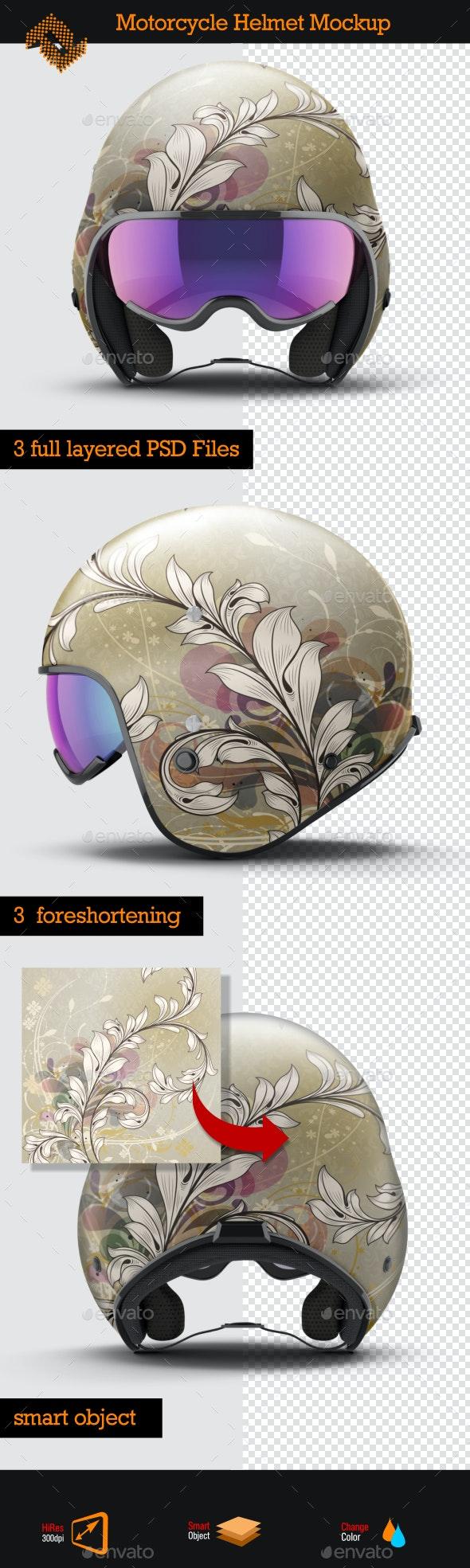Open Face Motorcycle Helmet Mockup - Product Mock-Ups Graphics