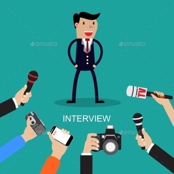 Media Conducting a Press Interview