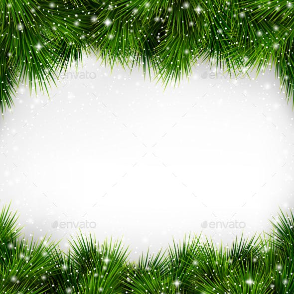 Green Christmas Tree Pine Branches with Snowfall