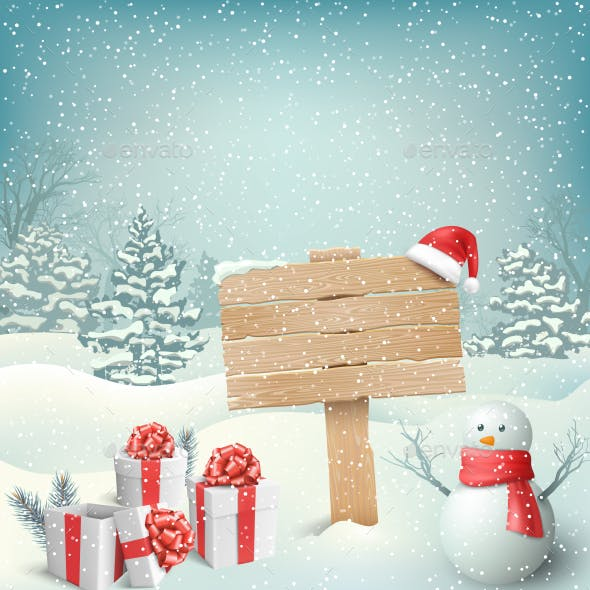 Christmas Winter with Signpost Snowman Gift Boxes