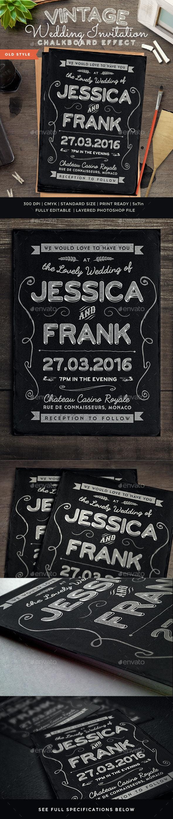 Chalkboard Vintage Wedding Invite - Weddings Cards & Invites