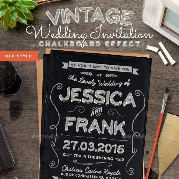 Chalkboard Vintage Wedding Invite