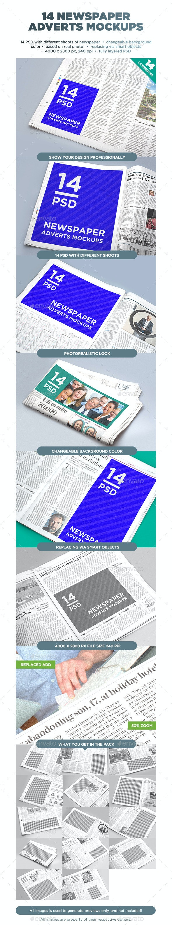 14 Newspaper Adverts Mockups - Miscellaneous Print