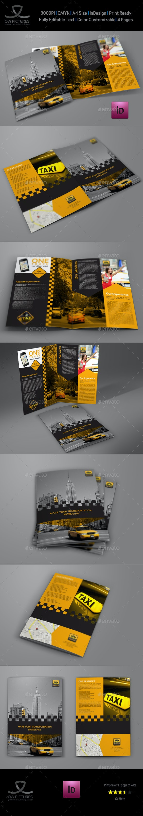 Taxi Services Bi-Fold Brochure Template - Brochures Print Templates