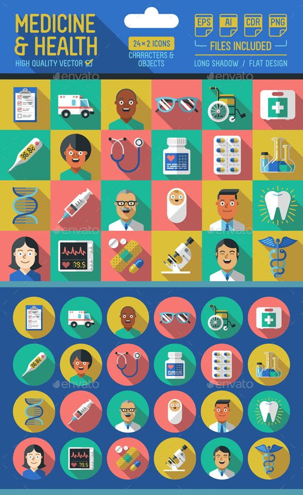 Medicine and Health Flat Icons with Long Shadow
