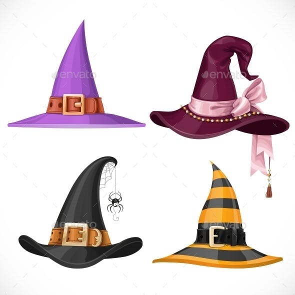 Witch Hats With Straps And Buckles Set Isolated On