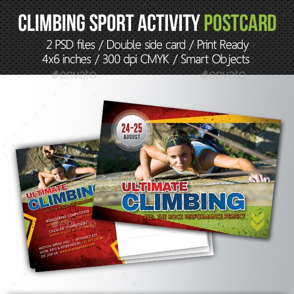 Climbing Sport Activity Postcard Template