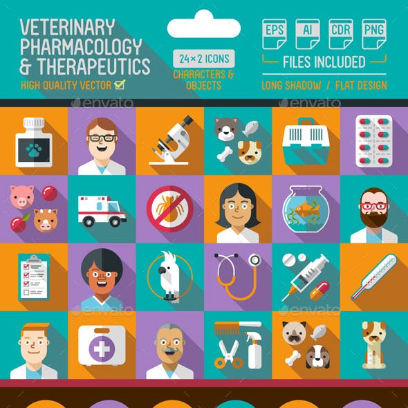 Veterinary Flat Icons with Long Shadow