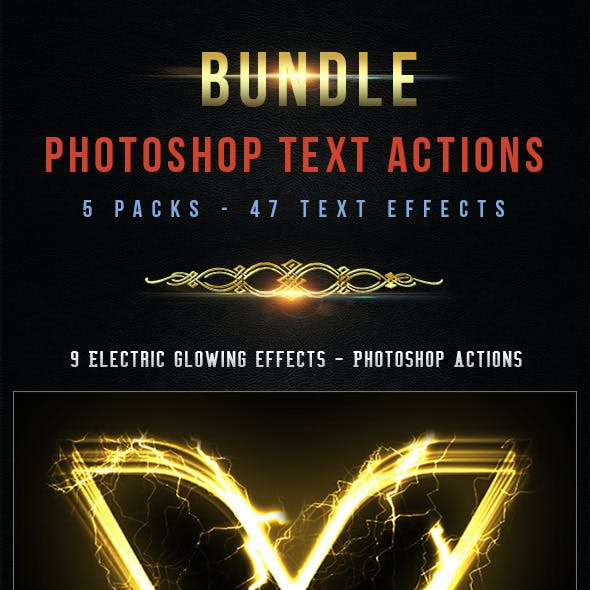47 Text Photoshop Actions - Bundle 3