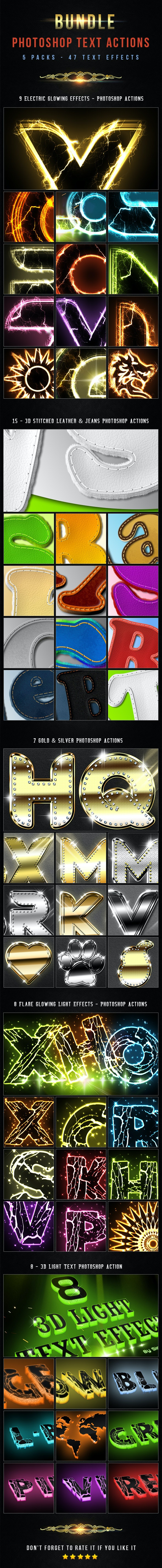 47 Text Photoshop Actions - Bundle 3 - Text Effects Actions