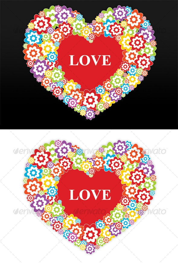 Flowers heart - love - Miscellaneous Vectors