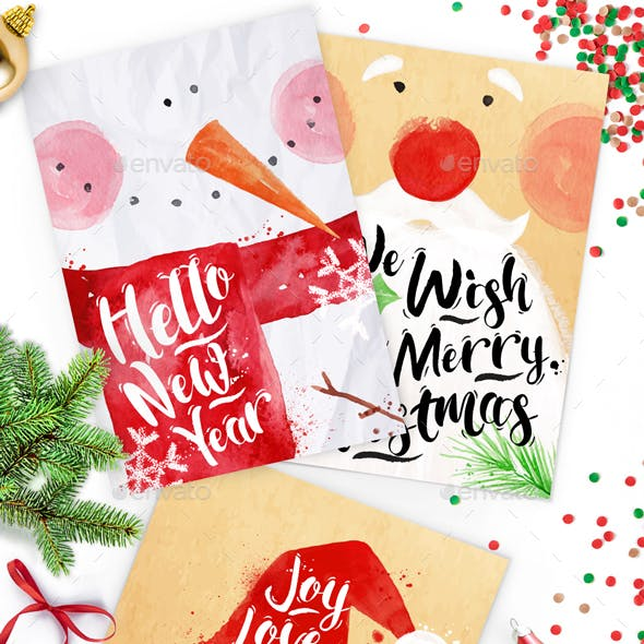 Christmas Watercolor Posters