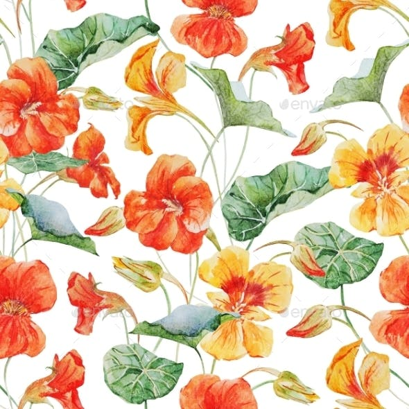 Watercolor Nasturtium Flower Pattern