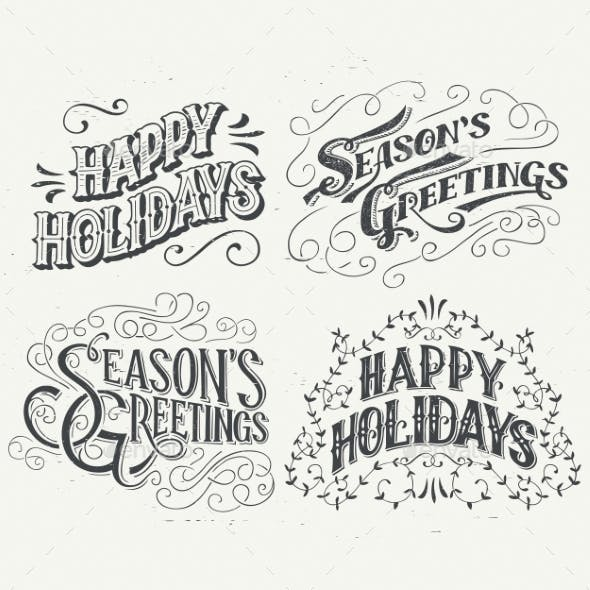 Happy Holidays Hand Drawn Typographic Headlines