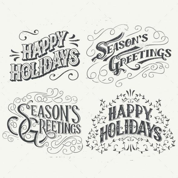 Happy Holidays Hand Drawn Typographic Headlines by