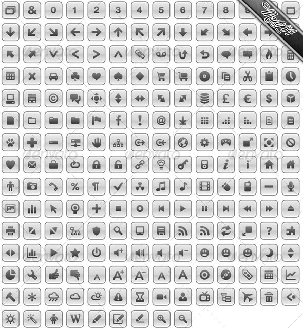 205 x Rounded Square Gray / Grey Gloss Icons - Web Icons