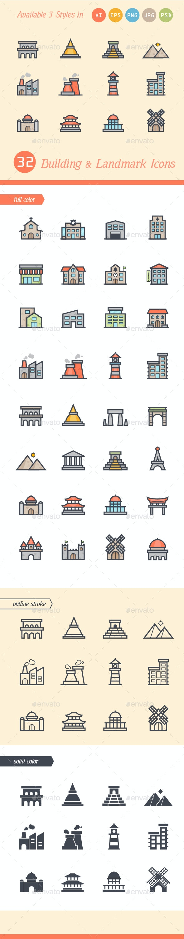 Set of 3 Styles Building and Landmark Icons - Buildings Objects
