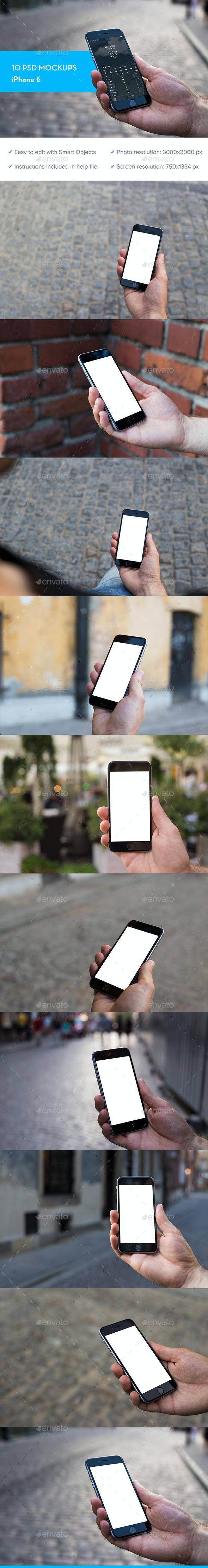 iPhone 6 Mockup - 10 PSD - Mobile Displays