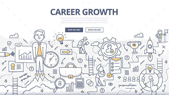 Career Growth Doodle Concept - Concepts Business