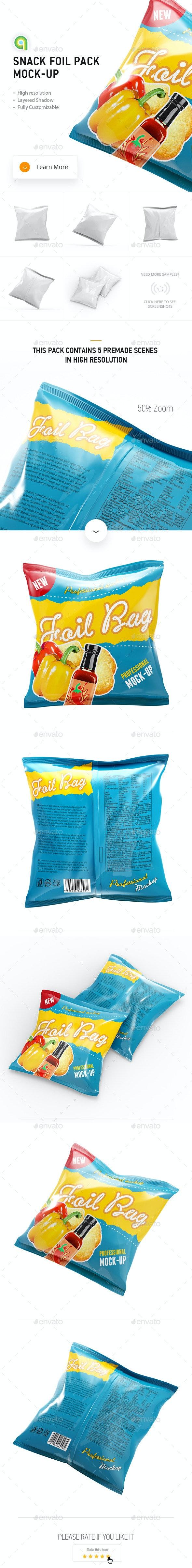 Snack Foil Pack Mock-up - Food and Drink Packaging