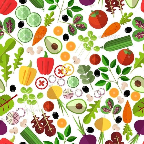 Salad Ingredients Seamless Pattern