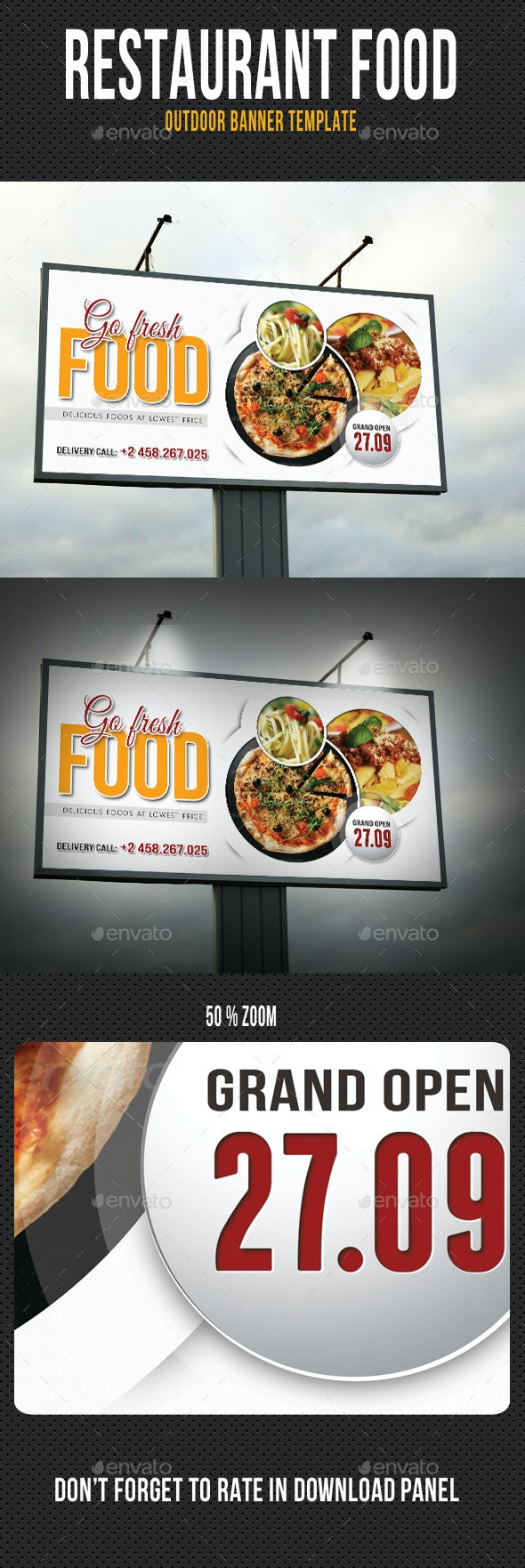 Restaurant Food Outdoor Banner Template - Signage Print Templates