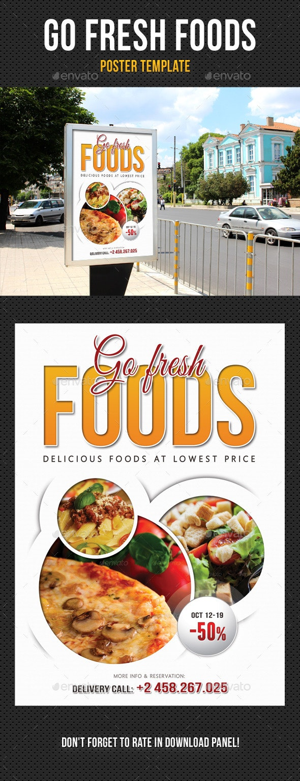 Go Fresh Food Poster Template