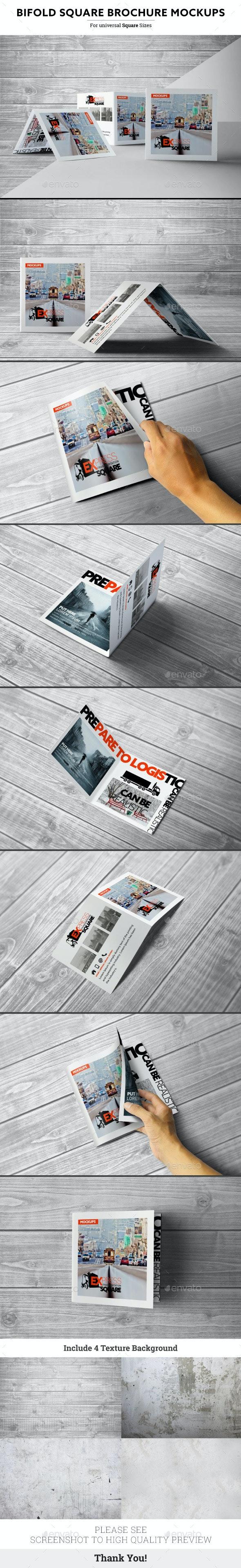 Bifold Square Brochure Mockups - Product Mock-Ups Graphics