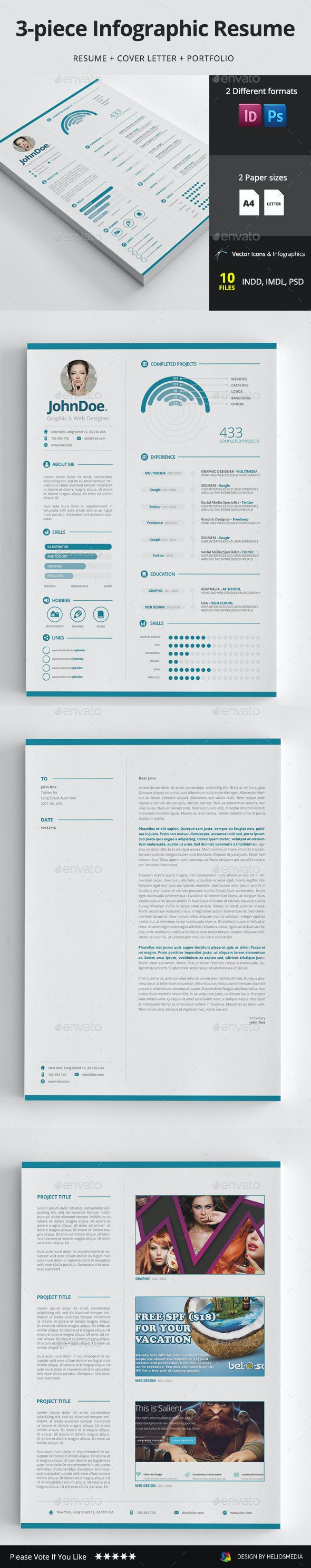 3-piece Infographic Resume / CV - Resumes Stationery