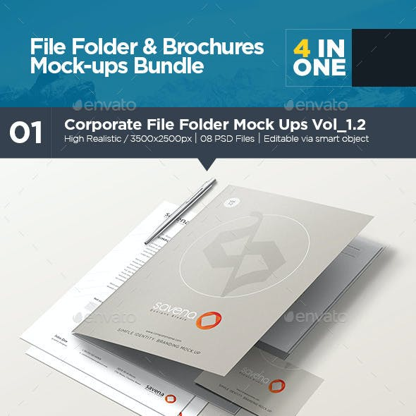 File Folder & Brochures Mock-ups Bundle