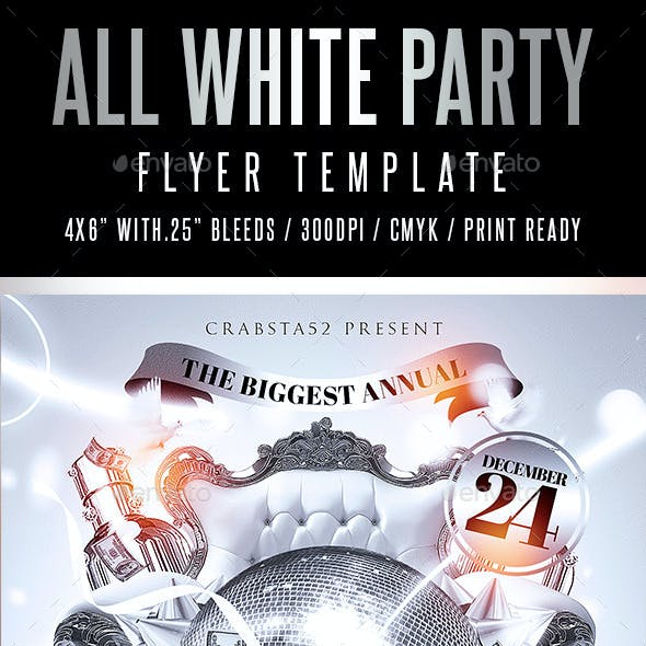 All White Party Flyer Template