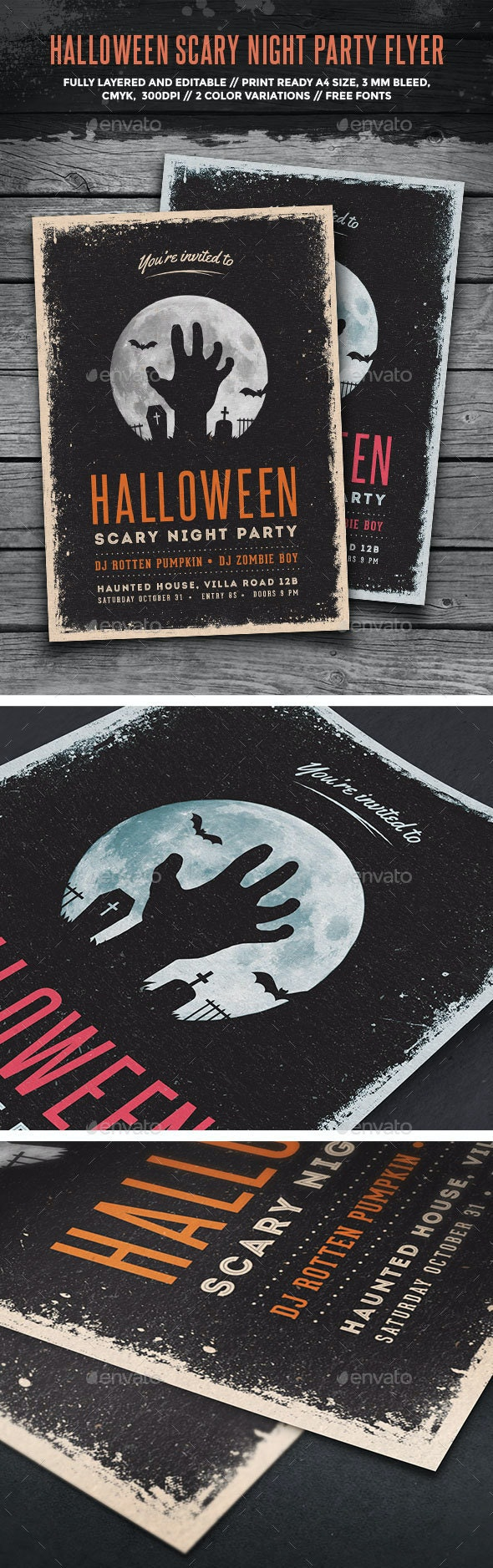 Halloween Scary Night Party Flyer - Holidays Events