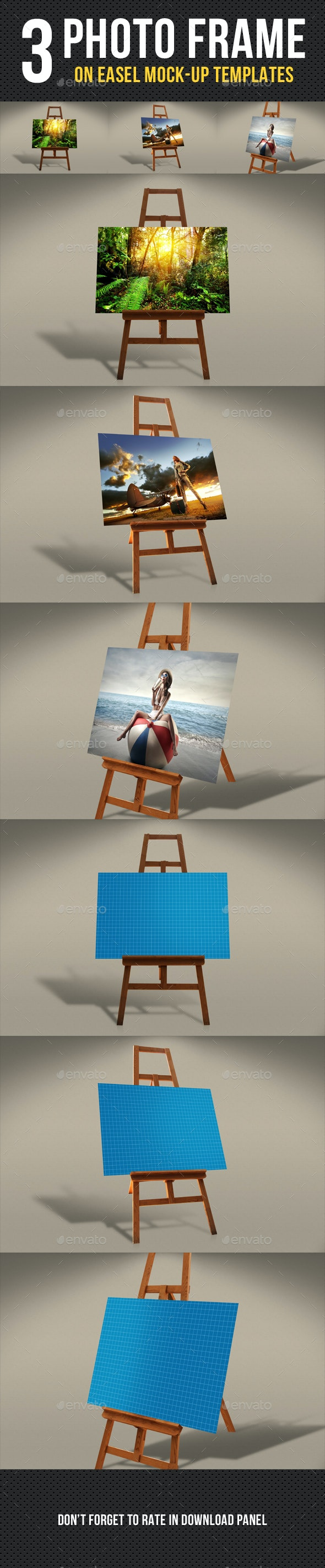 Photo Frame On Easel Mock-Up - Artistic Photo Templates