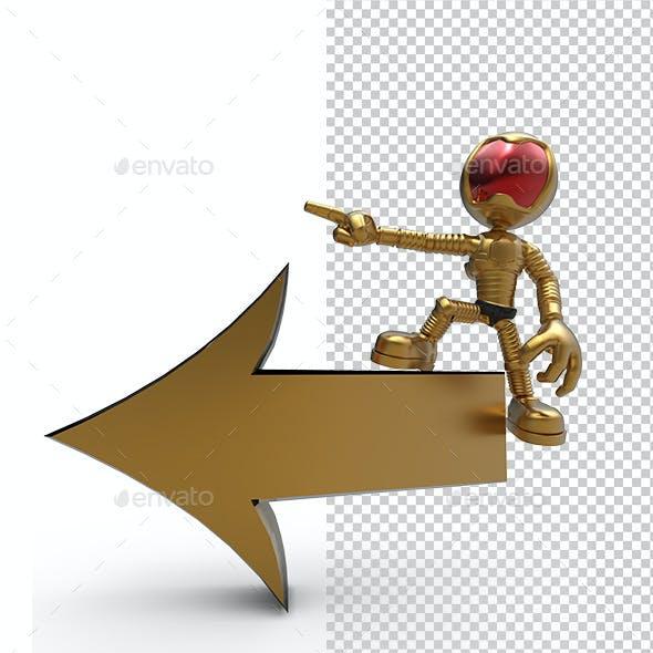 3D Gold Astronaut Tell Left Direction
