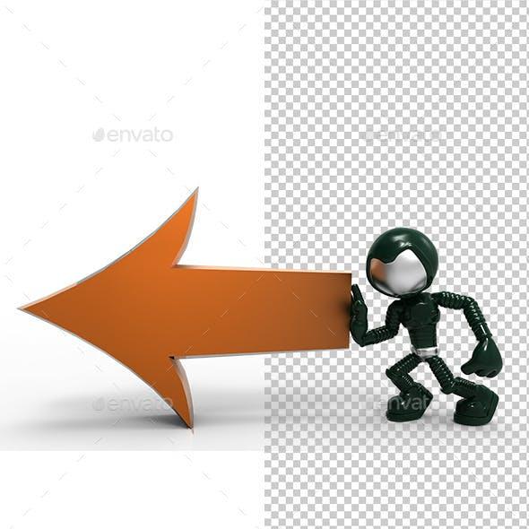 3D Astronaut Tell Left Direction Arrow