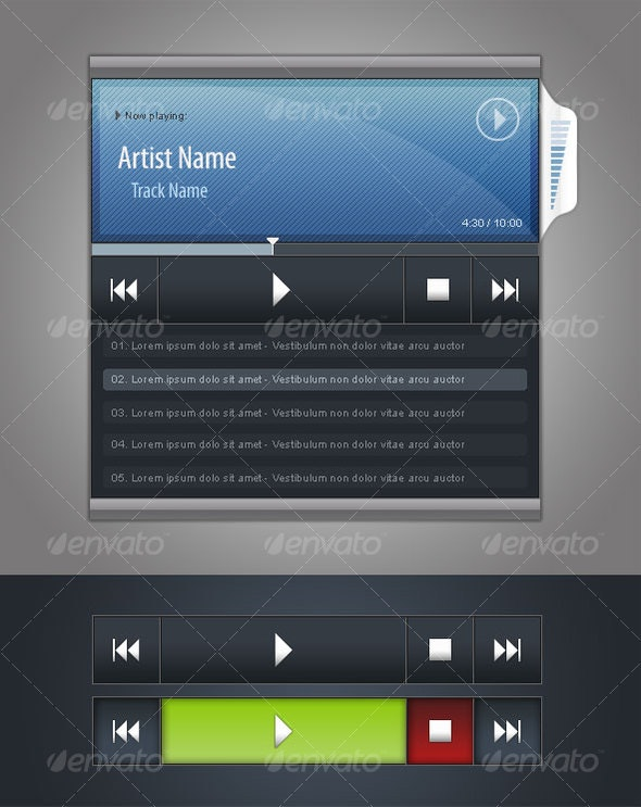 Audio Player GUI - User Interfaces Web Elements