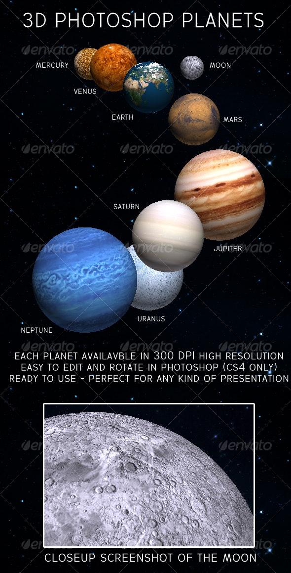 3D Planets for Adobe Photoshop - 3D Backgrounds
