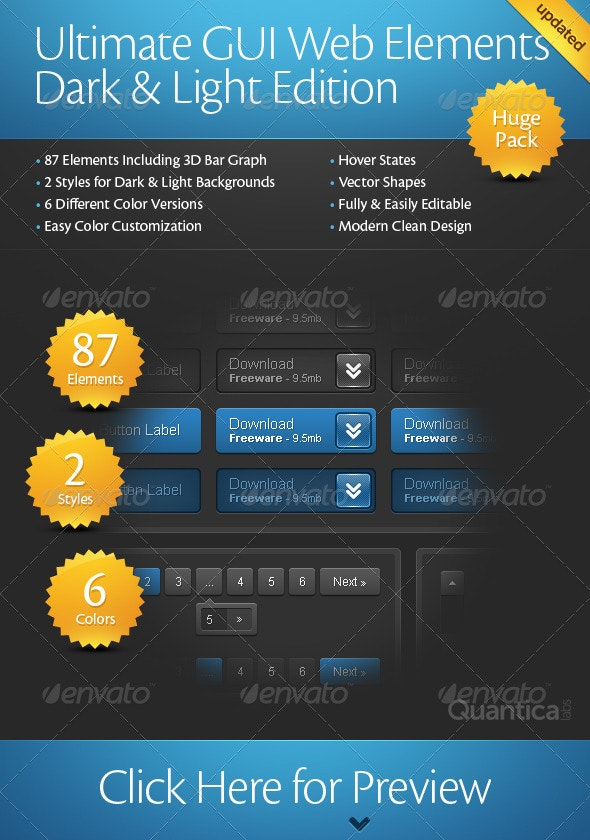 Ultimate GUI Web Elements Dark & Light Edition - User Interfaces Web Elements
