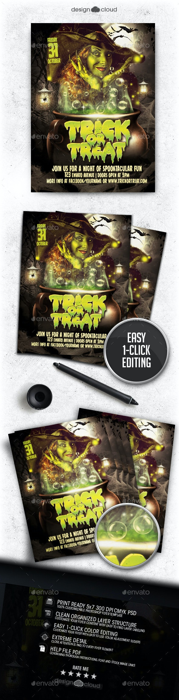 Trick or Treat Halloween Flyer Template - Holidays Events
