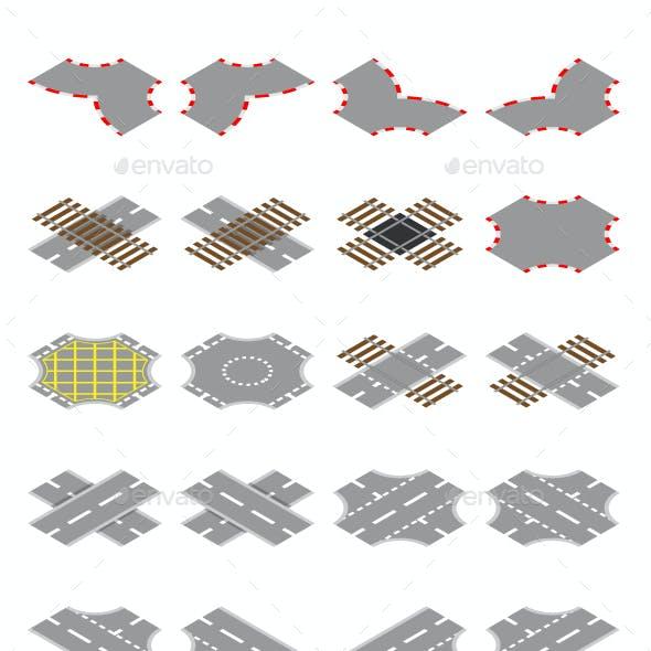 Isometric Road And Rail Elements