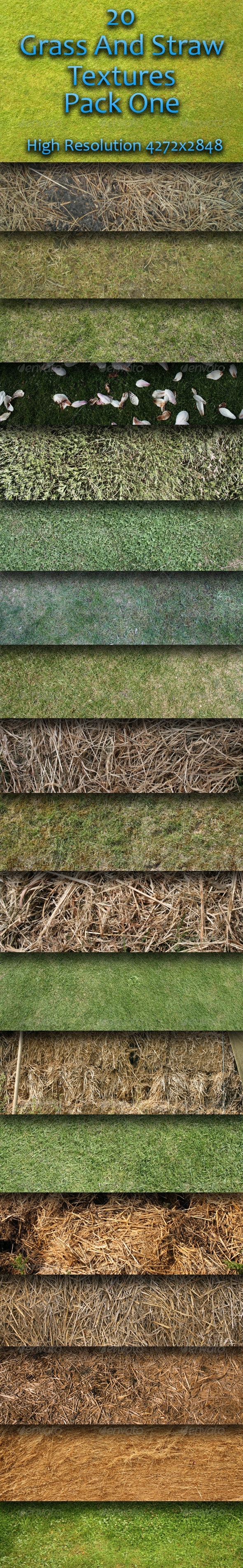 20 Grass And Straw Textures - Pack One  - Nature Textures
