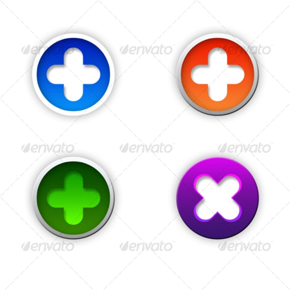 4 Nice Rounded Cross Buttons - Miscellaneous Backgrounds