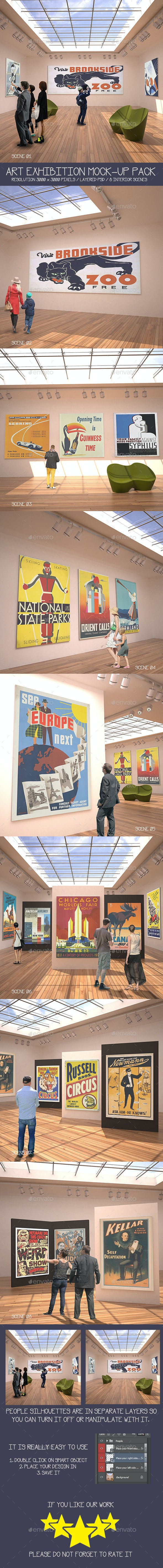 Art Exhibition Mock-Up Pack - Posters Print