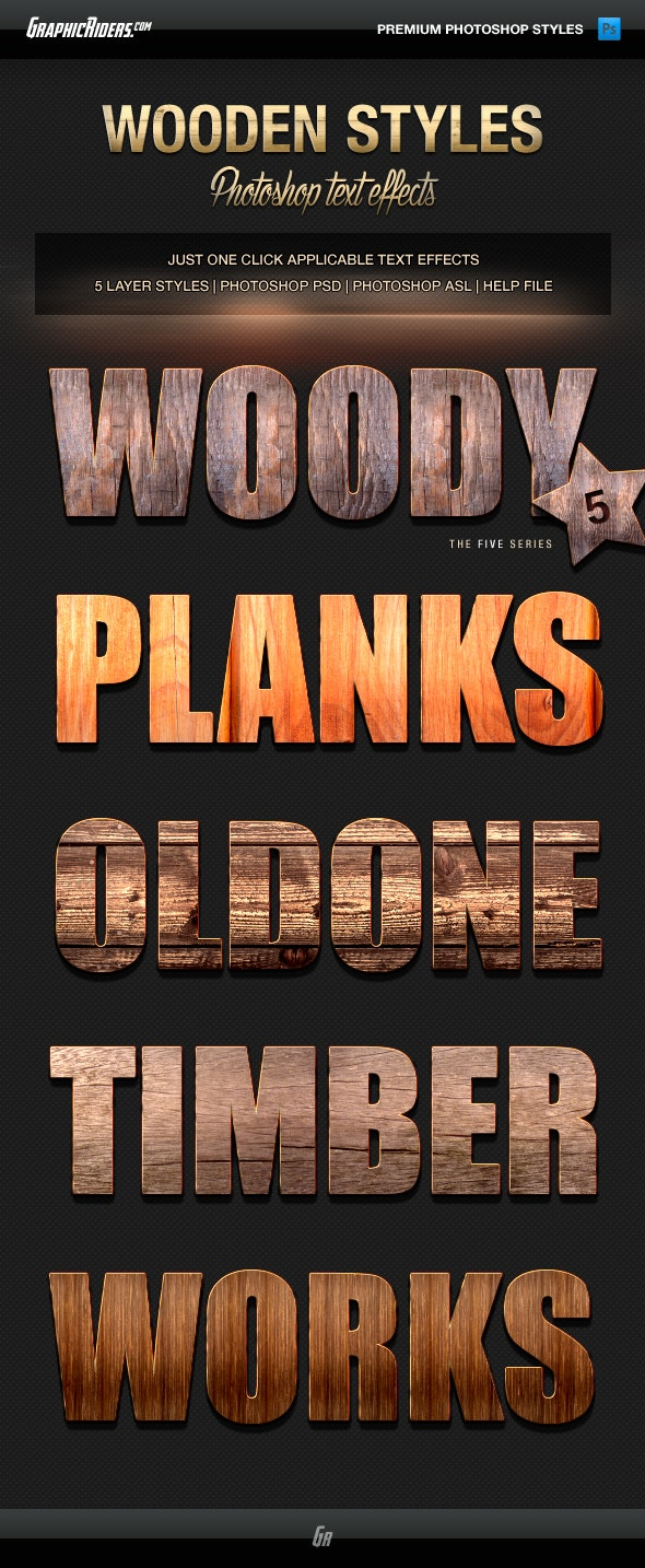 Various Text Effects Vol.3 - Wooden Styles - Text Effects Styles
